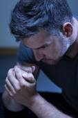 Portrait of young man with depression — Stock Photo