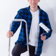 Young man on ladder — Stock Photo #59687325