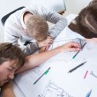 Architects fell asleep while working — Stock Photo #60193037