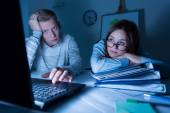 Overwork people working at night — Stock Photo