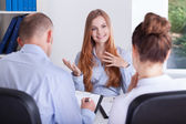 Girl talks about her experience — Stock Photo