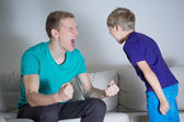 Dad yelling at his son — 图库照片