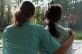Nurse cares for sad patient  — Stock Photo