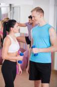 Flirting with personal trainer — ストック写真