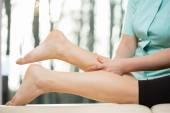 Calf massage — Stock Photo