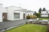Enormous terrace outside designed residence — Stock Photo