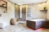 Interior of expensive and brown bathroom — Fotografia Stock
