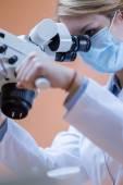 Dentistry using dental microscope — Zdjęcie stockowe