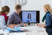 Business conference on the skype — Stock Photo