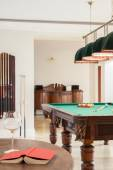 Home interior with pool table — Stock Photo