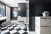 Elegant, black and white bathroom — Stock Photo