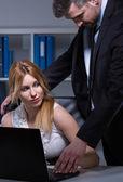 Boss harassing secretary — Stock Photo
