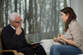 Women uses psychological counseling — Stock Photo