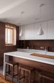 White and brown luxury kitchen — Stock Photo