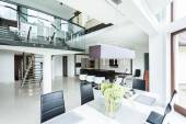 Modern dining room in property — Stock Photo