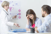 Gynecologist and confused woman — Stock Photo