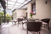 Wicker furniture on the balcony — Zdjęcie stockowe