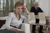 Resentful elderly woman after quarrel — Stock Photo