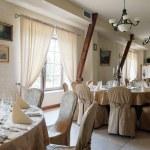 Restaurant ready for wedding reception — Stock Photo #77995438