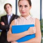 Woman Holding folder — Stock Photo #78224396