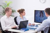 Businesspeople and video conference — Stock Photo