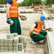 Construction workers installing paving stones — Stock Photo #78848270