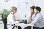 Young couple visiting a gynecologist — Stock Photo