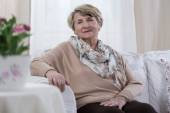 Elderly melancholic lady — Stock Photo