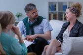 Pair with problem during psychotherapy — Stock Photo