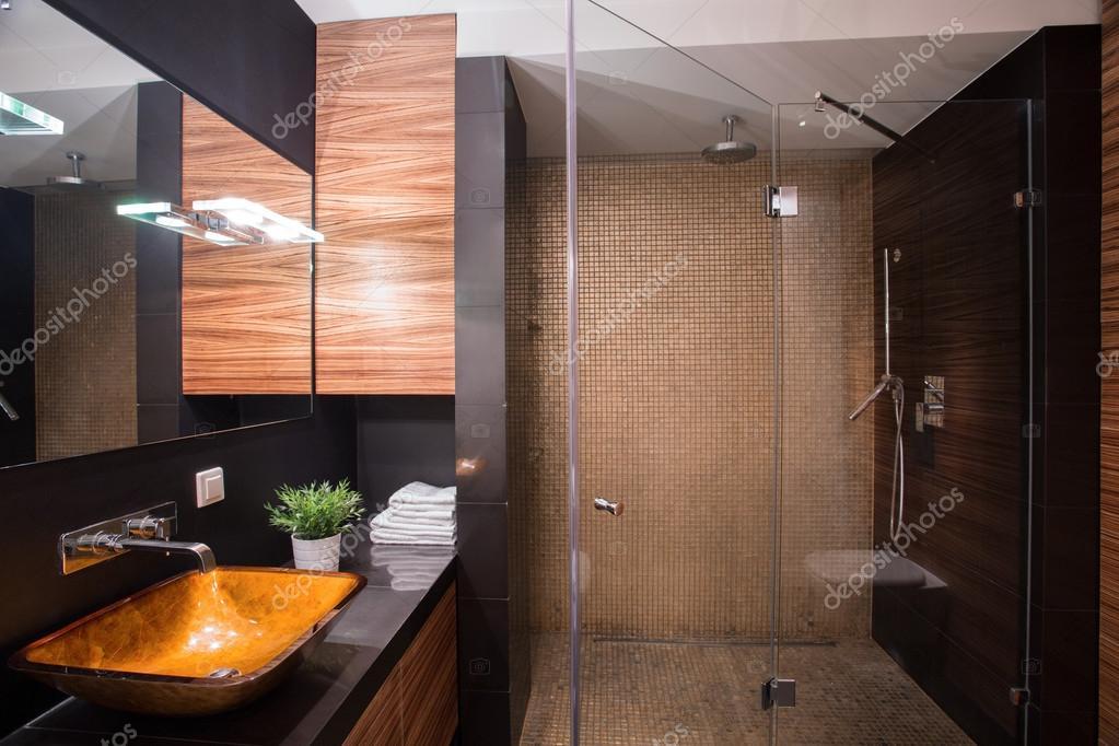 dunkle badezimmer mit großer dusche — stockfoto © photographee.eu, Hause ideen
