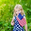 Cute smiling little girl with long curly blond hair holding an american flag on sunny day in summer park. Independence Day, Flag Day concept — Stock Photo #72173891