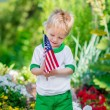 Smiling little boy with blond hair holding american flag and looking at it in sunny park or garden on summer day. Portrait of child on blurred background. Independence Day, Flag Day concept — Stock Photo #72719949