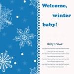 Winter newborn baby shower card. — Stock Vector #57894453