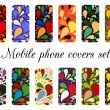 Set of 12 retro varicolored mobile phone covers.  — Stock Vector #58053587