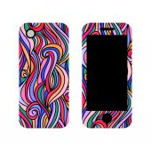 Decals for cell phone with multicolored waves. — Stock Vector
