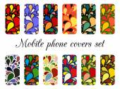 Set of 12 retro varicolored mobile phone covers.  — Stock Vector