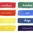 Set of rainbow colors watercolor brushes — Stock Vector #64040237