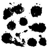 Black watercolor spots. Ink vector illustration. Design elements. — Vecteur