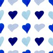 Watercolor blue hearts seamless pattern — Vetor de Stock  #70435621