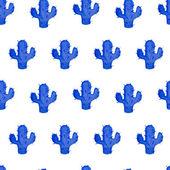 Vector akvarell seamless mönster med hand dras cactus. — Stockvektor