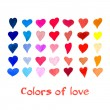 Watercolor hearts set. Vector background. — Vetor de Stock  #71079937