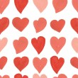 Watercolor red and pink hearts seamless pattern. Vector background. — Vetor de Stock  #71080479