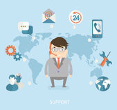Man and technical support — Stock Vector