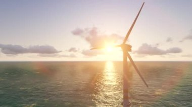 Offshore wind turbine. Green energy. — ストックビデオ