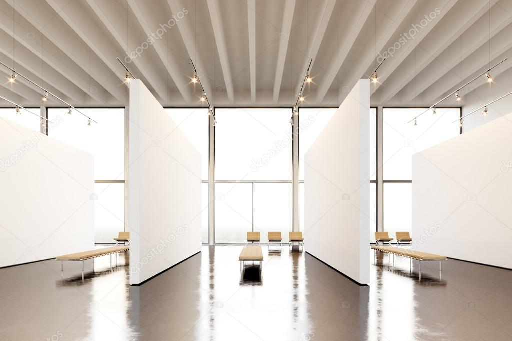 Museum Interior Design Furniture ~ Photo exposition space modern gallery blank white empty