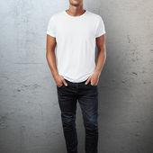 Man in blank t-shirt — Stock Photo