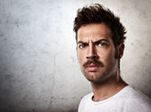 Brutal man with a mustache — Stock Photo