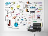 Стул и доске с бизнес-стратегии — Стоковое фото