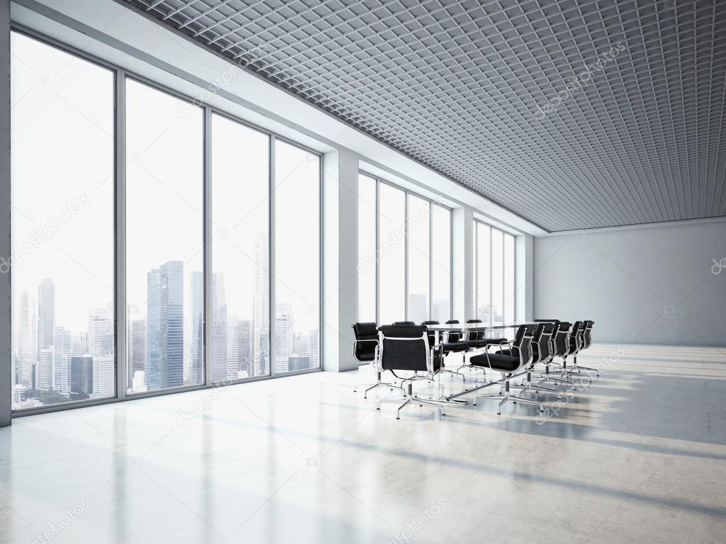 Office interior with large windows — Stock Photo © kantver #52522477