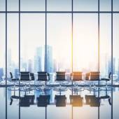 Office interior with cityscape — Stock Photo